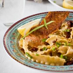Salmon with Pasta and Saffron Sauce