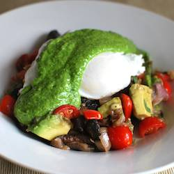 Poached Eggs with Arugula Pesto