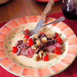 Red Wine Flank Steak with Caprese Salad