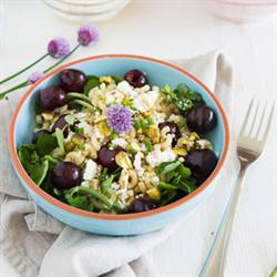 Pasta salad with cherries and feta