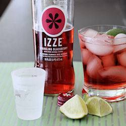 Sparkling Izze blackberry soda cocktail