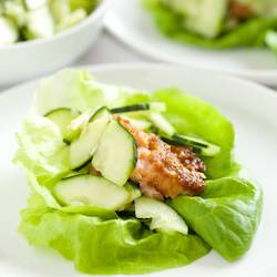 Miso Grilled Salmon Lettuce Wraps