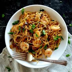 SOY BUTTER PASTA WITH SHRIMP AND SHIITAKES
