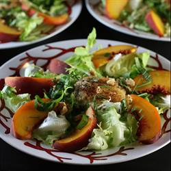 Peach & Warm Goat Cheese Salad