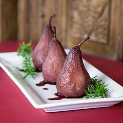 Pears Poached in fragrant Red Wine