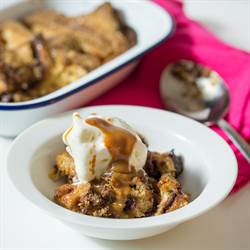Caramel and Nutella Bread Pudding