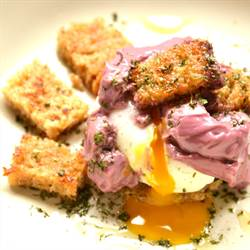 Poached egg with beaujolaise sauce (1)