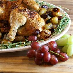 Roast spatchcock chicken and grapes