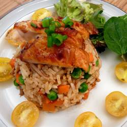 Spicy Fried Rice with Roasted Chicken