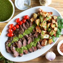 Grilled steak & potatoes with chimichurri