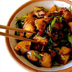 SPICY TWICE COOKED POTATOES