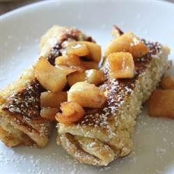 French Toast Roll Ups with Apple Compote