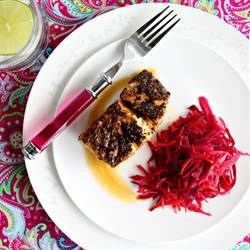 Blackened Fish with Spiced Pickled Cabbage
