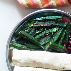Okra Stuffed with Peanut Spice