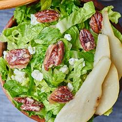 Pear, Blue Cheese, Candied Pecan Salad