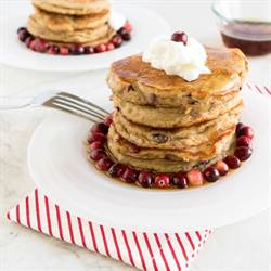 Caramelized cranberries coconut pancakes