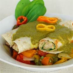 Saag Chicken Enchiladas