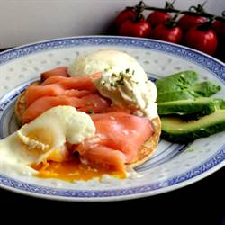 Poached eggs on blinis and smoked salmon