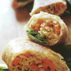 Nutty Snow Pea Spring Rolls