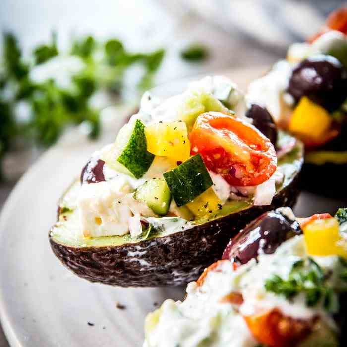 Chopped Greek Salad Stuffed Avocados