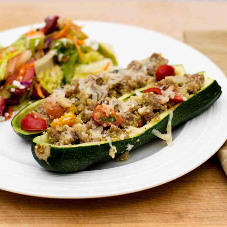 Sausage and Quinoa Zucchini Boats