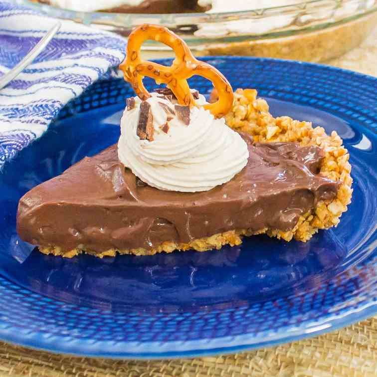 Chocolate Pie with Pretzel Crust