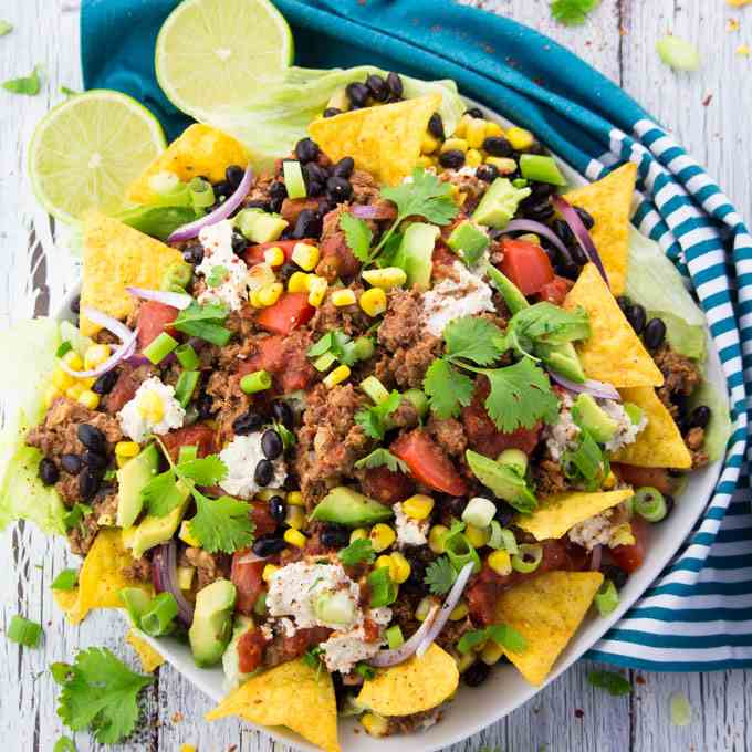 Taco Salad with Lentil Walnut -Meat-