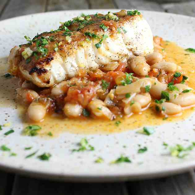 Pan-Seared Halibut With White Beans
