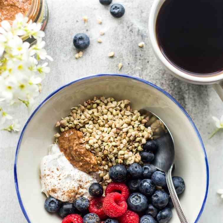 Sprouted buckwheat breakfast bowl