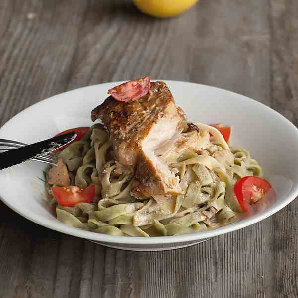 Salmon and Tagliatelle Pasta