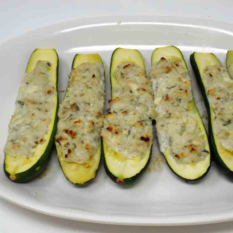 Ricotta and Blue Cheese Stuffed Zucchini