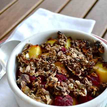 Baked peach and raspberry oatmeal