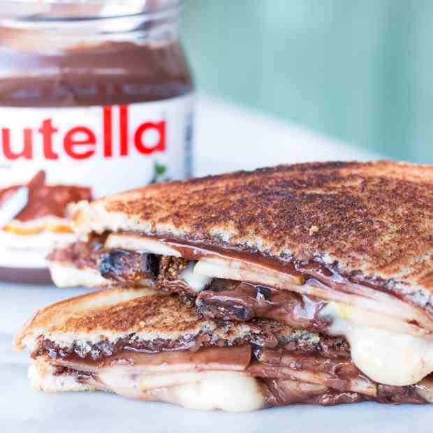 Grilled Nutella, Brie, Pear - Fig Sandwich