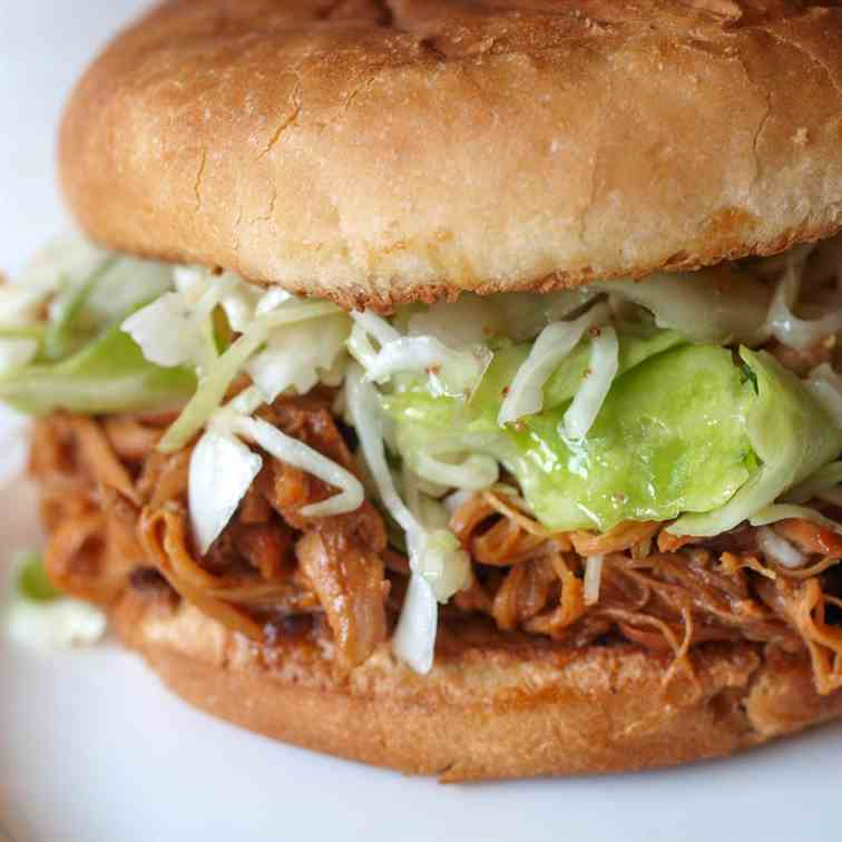 Honey BBQ Crockpot Chicken Sandwiches