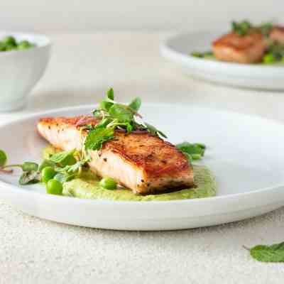 Seared Salmon and Pea Puree with Mint