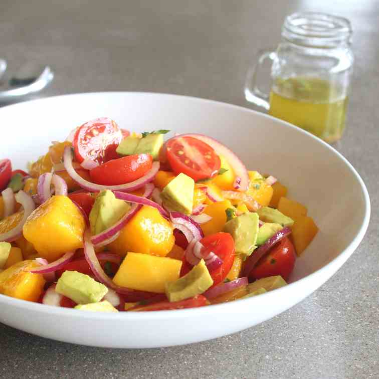 Summer Mango Avocado Red Onion Salad