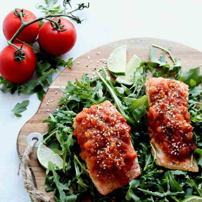 Baked Salmon With Tomato - Ginger Relish