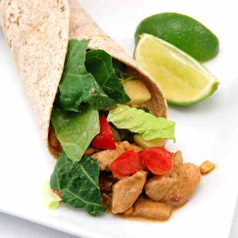 Peanut Chicken Salad Wraps