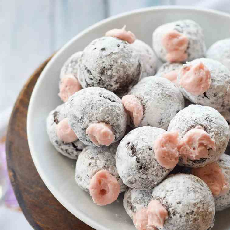 Chocolate Donut Holes with Pomegranate Cre