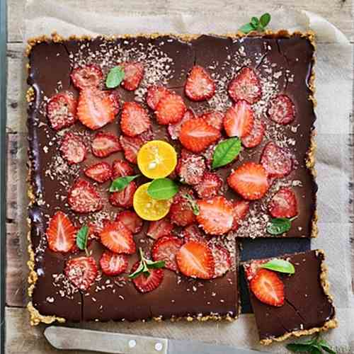 Rich Chocolate Orange Strawberry Tart