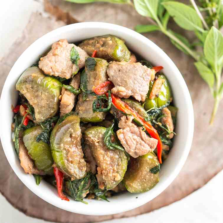 Eggplant Stir-Fried with Thai Basil Leaves
