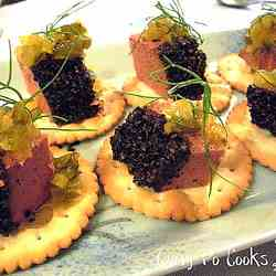 Pork liver pate on crackers