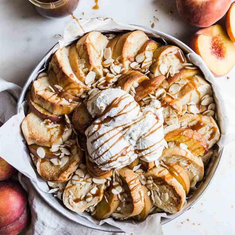 Almond Peach Bread Pudding
