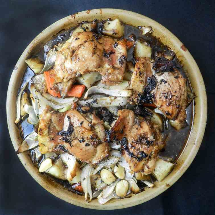 Balsamic Braised Chicken with Roasted Vege