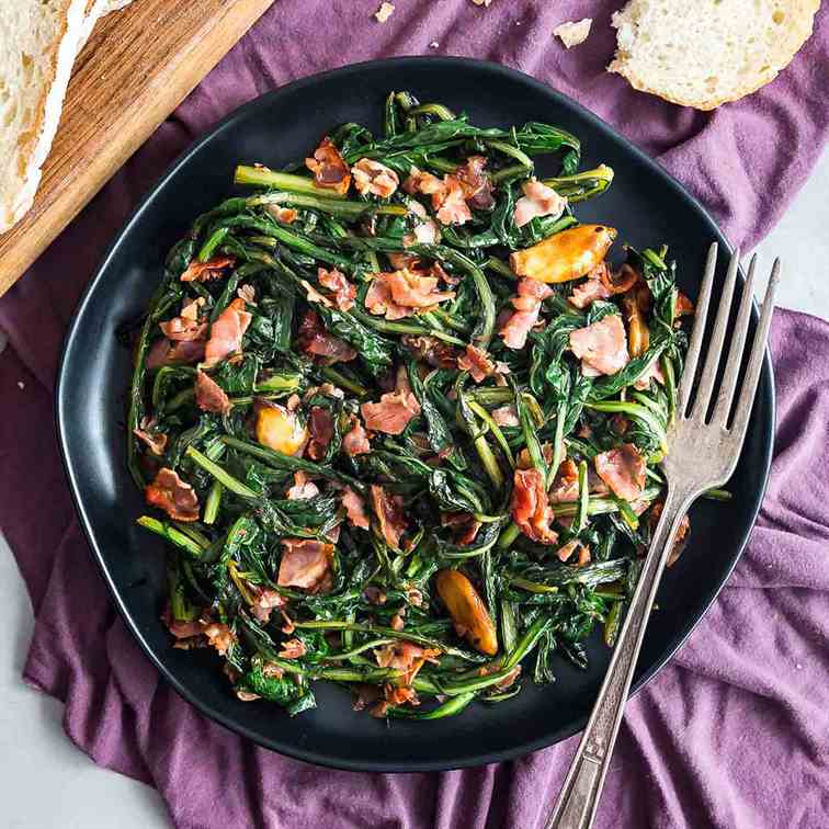 Spicy Dandelion Greens with Garlic and Cap