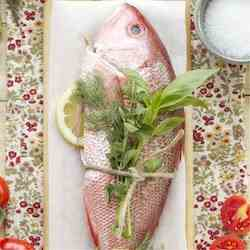 Roasted Red Snapper with summer vegetables
