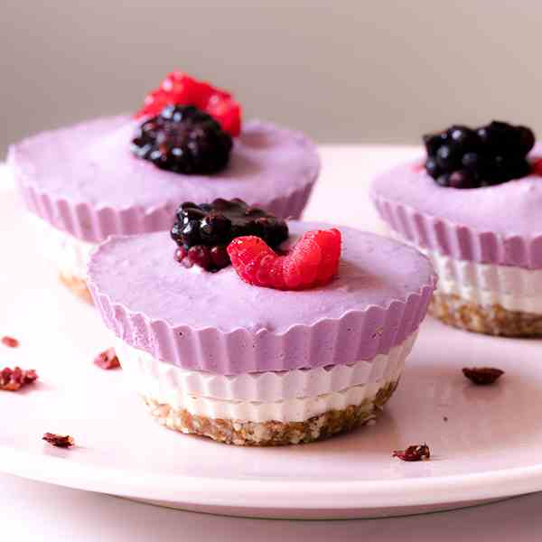 No Bake Tricolor Mini Cheesecakes