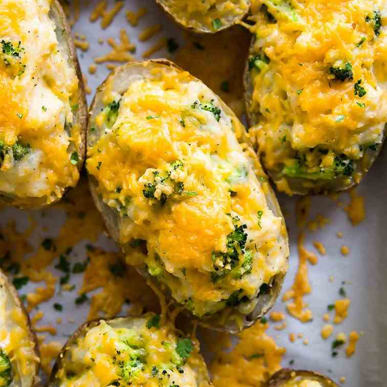 Cheddar and Broccoli Twice Baked Potatoes