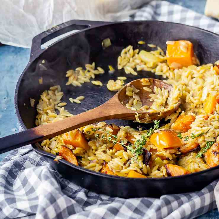 One Pot Orzo with Roasted Butternut Squash
