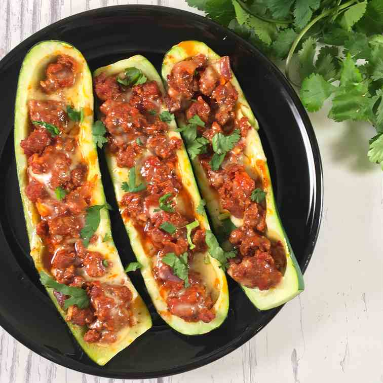 Keto Zucchini Boats with Chorizo